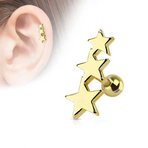 Gold Plated Triple Star Cartilage Bar